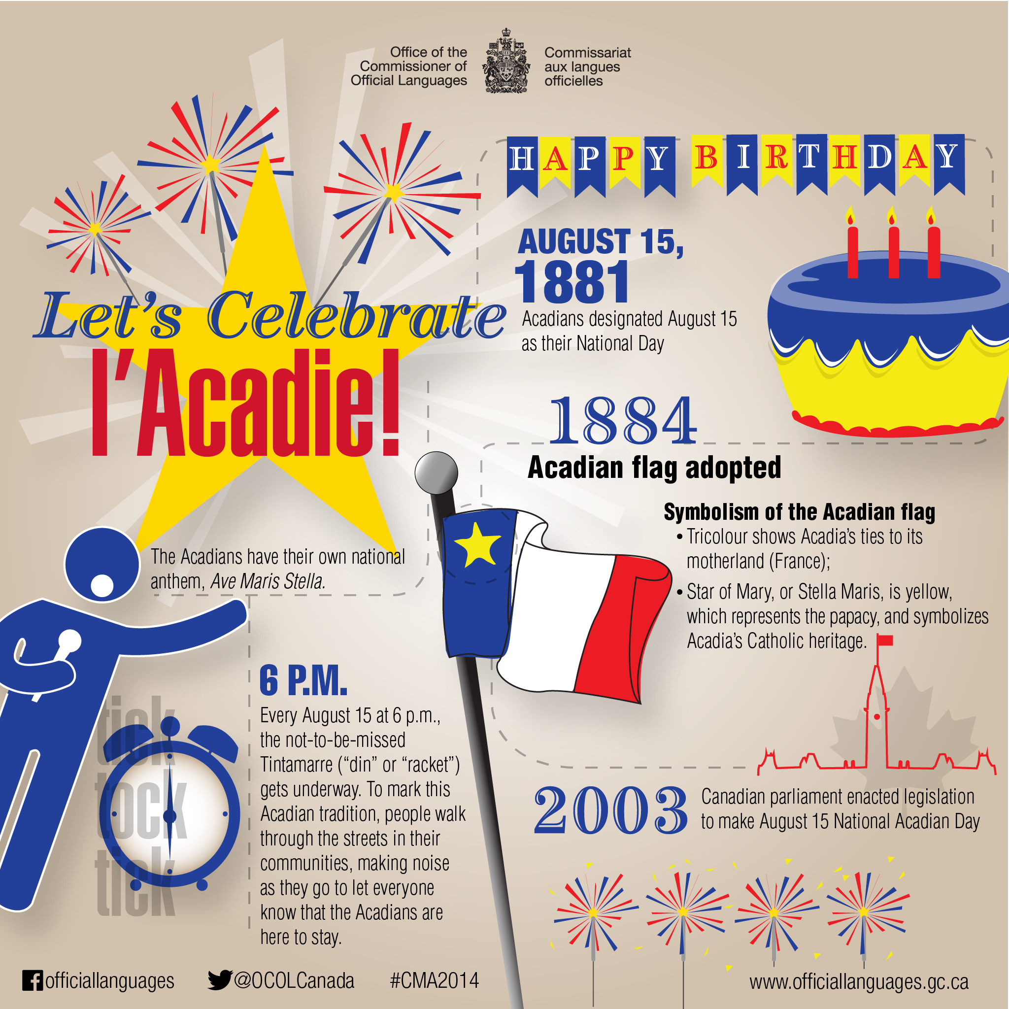 Celebrate Acadia on August 15! Text version follows.