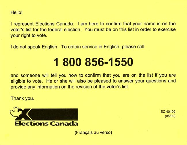 An image of a card used for door-to-door visits to update the lists of electors