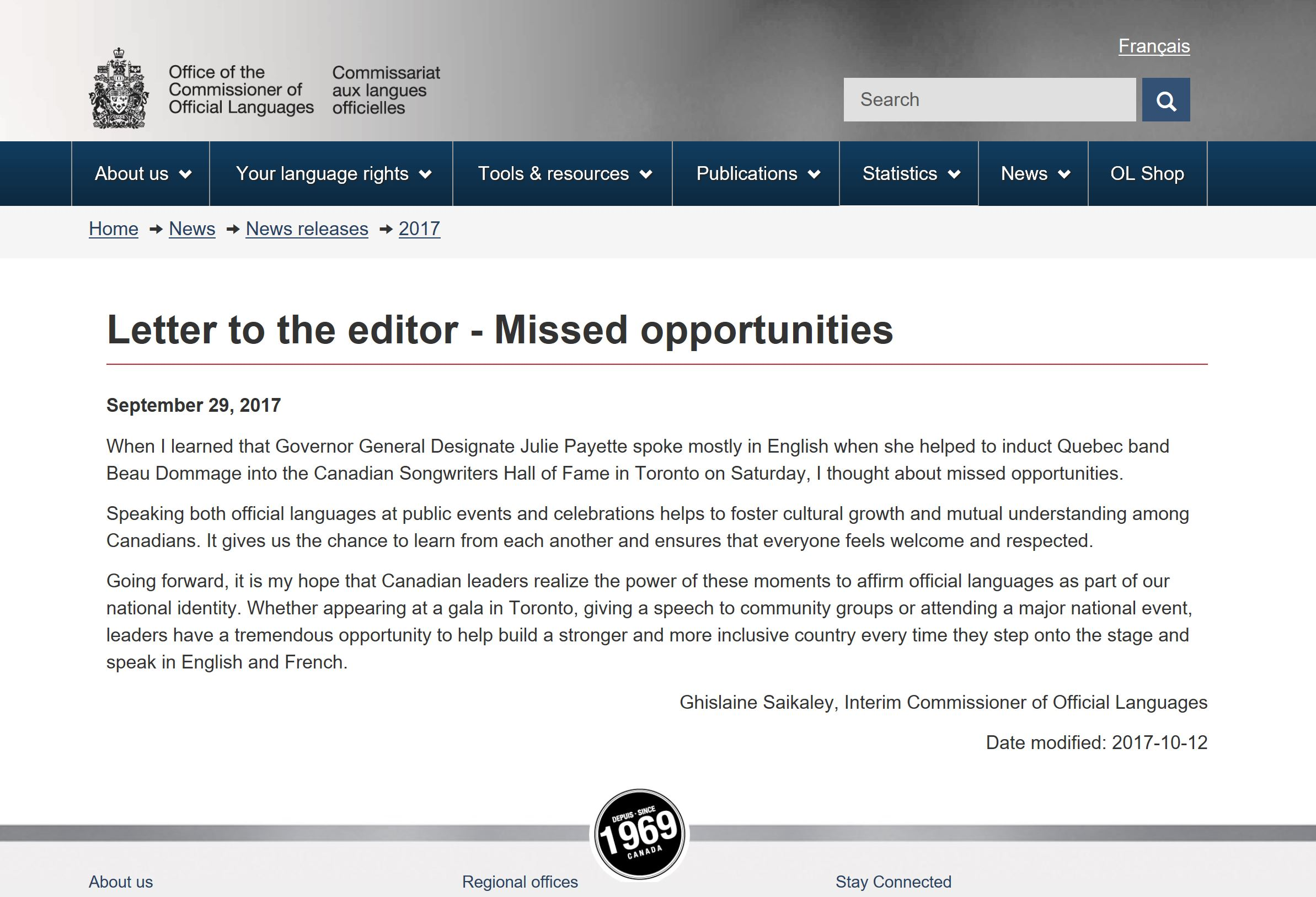Letter to the editor - Missed opportunities - Click to enlarge