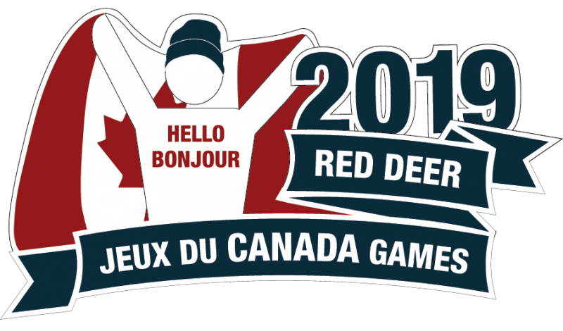 "Man with a ""Hello Bonjour"" shirt, holding a Canadian flag"