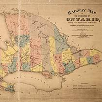 Railway map of province of Ontario, 1875