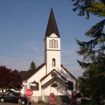 The historic church of Our Lady of Lourdes on Laval Square in Maillardville, British Columbia