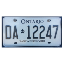 Ontario plate bears a French slogan