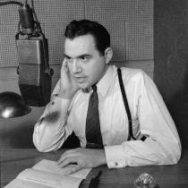Commentator Lorne Greene broadcasting over the C.B.C. national network.