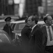 Pierre Elliott Trudeau and Robert Bourassa attending the funeral of Pierre Laporte.