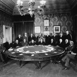 Cabinet Meeting, Privy Council Chamber, East Block. The Hons. P.J. Veniot is seating to the left.