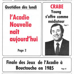 Cover of the first edition of l'Acadie nouvelle, June 1984
