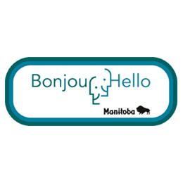 "Logo ""bonjour hello"" of the Government of Manitoba"