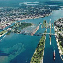 Aerial picture of the Soo Locks (downriver view) — in Michigan between Lake Superior and Lake Huron