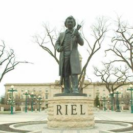 Statue of Louis Riel in front of the Manitoba Legislature.